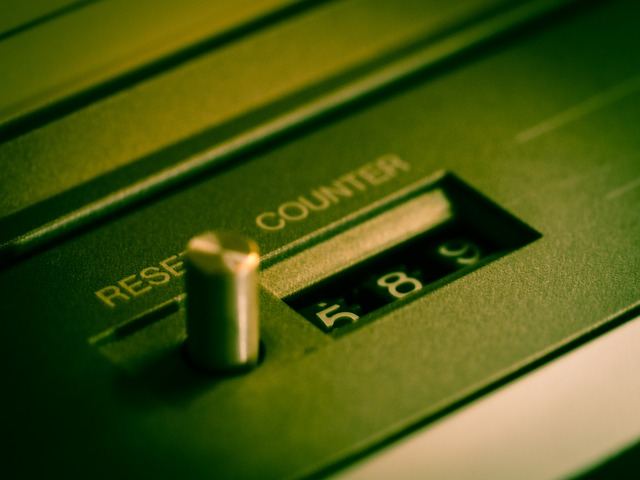 Reset switch on tape machine